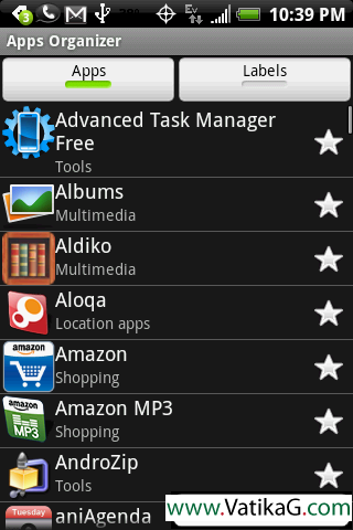 Apps organizer